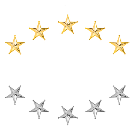 Golden and silver Christmas Star isolated on white Background.