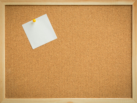 yellow pin white paper on cork board texture or background for note, input text