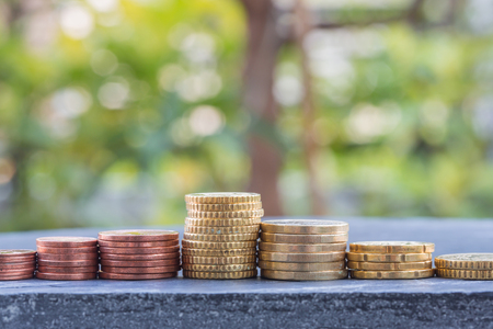 Euro coins stacks on slate stone isolated green blur nature background