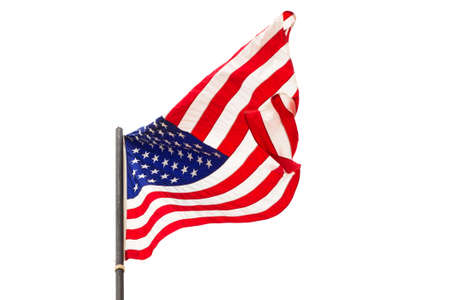 first nations: American flag waving isolated on white background