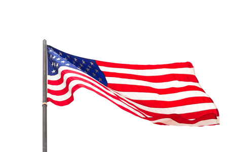 American flag waving isolated on white background