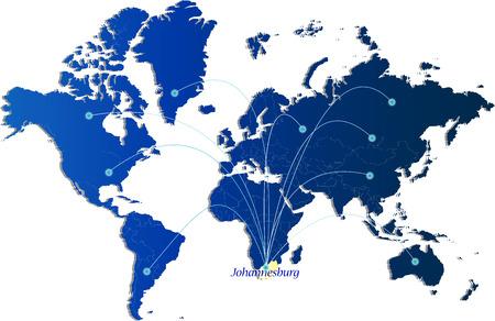 blue johannesburg networking world map background, vector illustration