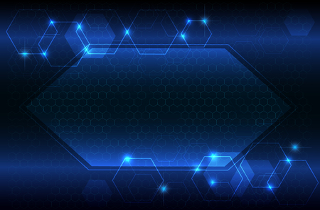 hexagon and light blue abstract tech innovation background as technology and future concept