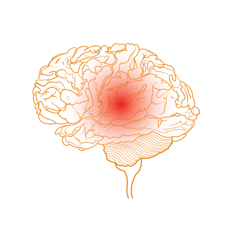Abstract image of brain on white with red point symbolizes pain, isolated vector illustration