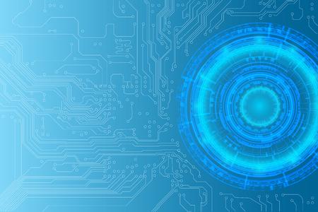 A digital cyber circular tech background as Hi Technology concept, vector illustration. Illustration