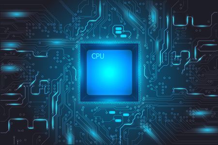 Blue Central Processing Unit (CPU) digital tech mainboard circuit background, vector illustration EPS 10