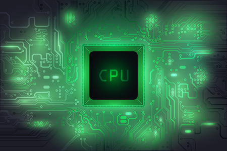 Central Processing Unit (CPU) digital tech mainboard circuit green background, vector illustration EPS 10 Illustration