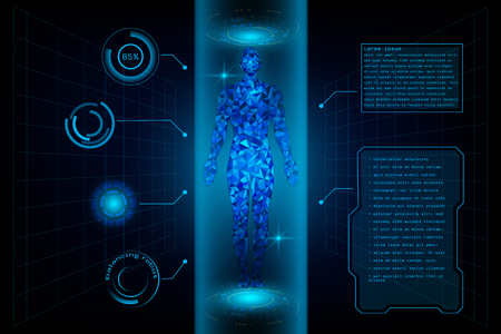 HUD Interface Virtual Human Body Polygonal Hologram Future System Health Innovation And Technology Concept Background