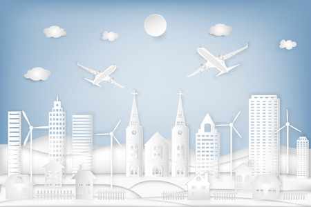 cityscape, urban countryside with turbine and airplane background as holiday, travel, celebration and paper art concept. vector illustration. Illustration