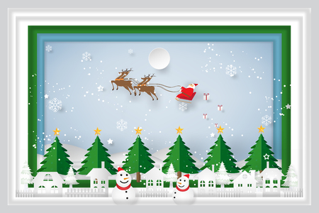 Santa Claus on Sleigh, Reindeer and Snowman on snowflakes, merry christmas in the winter and happy new year 2018 background as holiday and x'mas day concept. vector paper art and craft style.