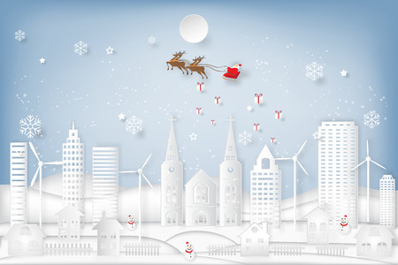 Santa Claus on Sleigh, Reindeer , snowman and snowflakes countryside background as holiday, celebration and paper art concept. vector illustration.