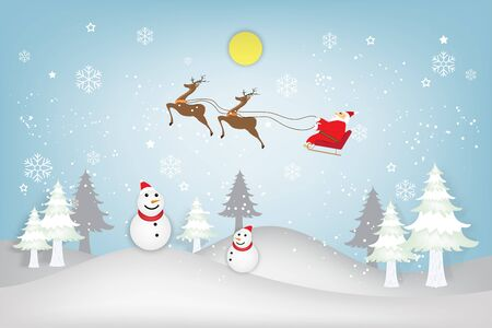Santa Claus on Sleigh, Reindeer, xmas tree and Snowman on snowflakes in the winter background with merry christmas text as holiday, xmas day and paper art and craft style concept. vector illustration.
