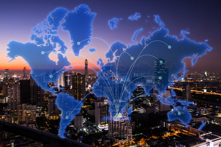 Johannesburg city in virtual world map on cityscape in the night background