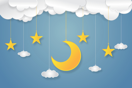 Origami layer skyscape of half moon, clouds and stars in the night as paper art and craft style concept. vector illustrator.