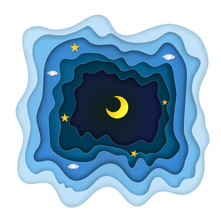 Origami layer skyscape of half moon, clouds and stars in the night as paper art and craft style concept.