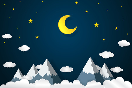 Half moon, clouds, stars and mountain in the night as paper art and craft style concept. Vettoriali