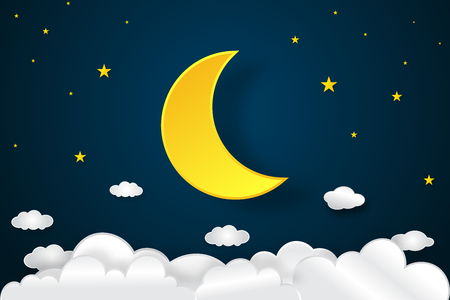 Half moon, clouds and stars in the night as paper art and craft style concept. vector illustrator. Stok Fotoğraf - 95557877