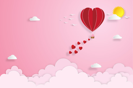 The hot air heart balloon on pink sky as love. Vector illustration.