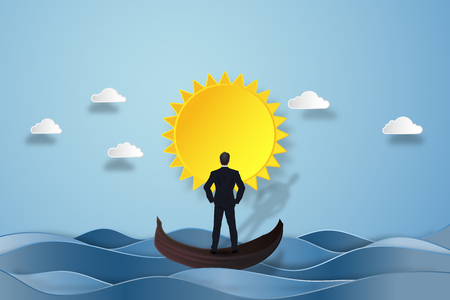 Businessman on the gondola boat and looking the mountain and island in the morning as business, goal, target, paper art and craft style concept. vector illustration. Standard-Bild - 96153035