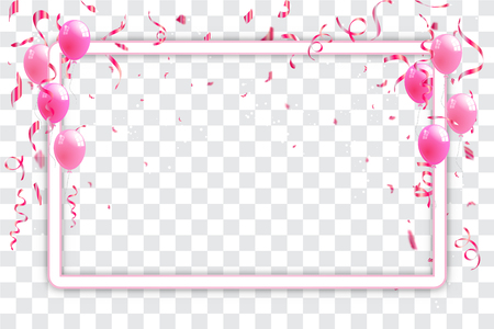 Confetti and pink ribbons celebration transparent background template concept. vector illustration