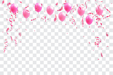 Confetti and pink rainbow ribbons celebration transparent background template concept. vector illustration