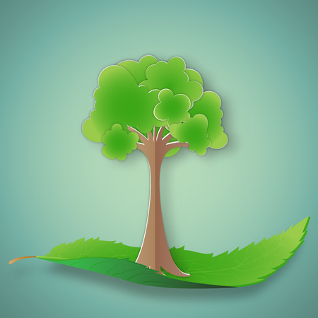 Green tree on leaf as environment conservation , Eco and saving the earth concept , vector illustration.