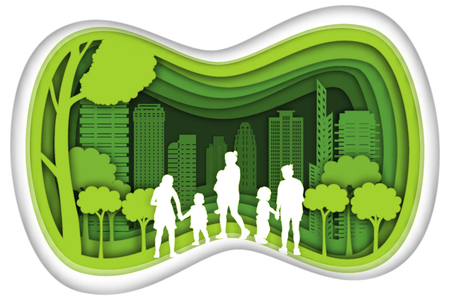Carving design of city urban, mom, son and baby with green nature as happy family, quality of life, ecology idea, Paper cut art and craft style concept. vector illustration.