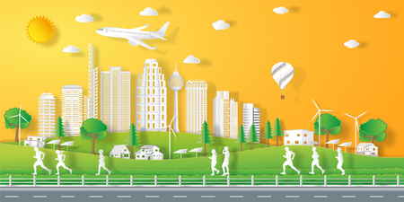 peoples exercise landscape in the city with sunset on summer, fresh air in the park as nature, healthy, paper art and craft style concept. vector illustration.