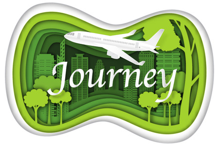 Carving design of city urban and airplane with green nature as business, travel in the popular cityscape, transportation, ecology idea, Paper cut art and craft style concept. vector illustration.