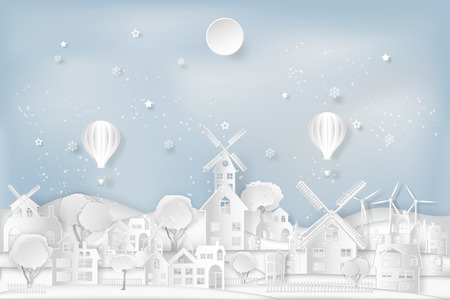 Cityscape with urban countryside with full moon and snow as Merry christmas and winter season,paper art and digital craft style concept. vector illustration. Çizim