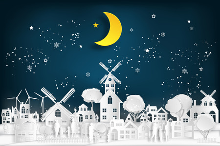 People relax and family in the cityscape with urban countryside with half moon and snow as Merry christmas and winter season,paper art and digital craft style concept. vector illustration. Çizim