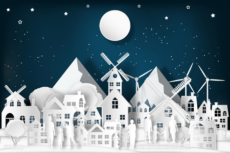 People relax and family in the cityscape with urban countryside with full moon and snow as Merry christmas and winter season,paper art and digital craft style concept. vector illustration.