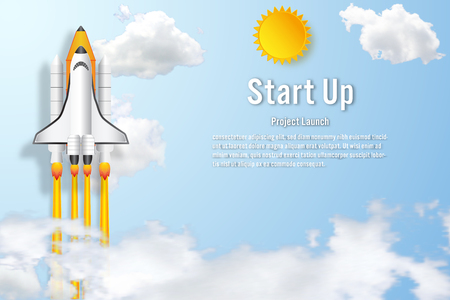 Rocket launch on the clouds and blue sky as paper art, craft style and business Startup project concept. flat design vector illustration. Stok Fotoğraf - 115010365