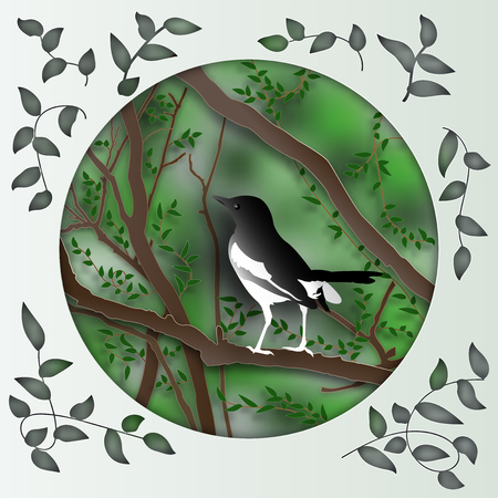 Magpie bird on tree branch in forest in the morning as Paper art carve , origami nature and animals idea concept, vector art and illustration. Çizim
