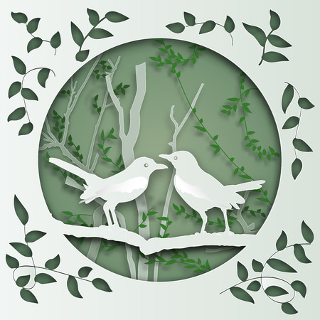 two bird on tree branch in forest in the morning as Paper art carve , origami nature and animals idea concept, vector art and illustration.