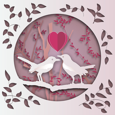 two bird with heart on tree branch in forest in the pink background as Paper art carve ,love, valentine, origami nature and animals idea concept, vector art and illustration. Çizim