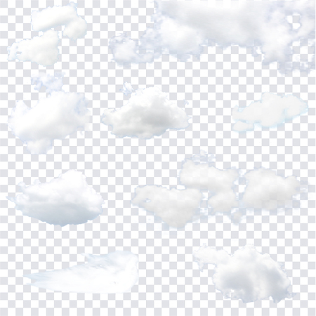 Realistic isolated cloud on the transparent background. Vector illustration.