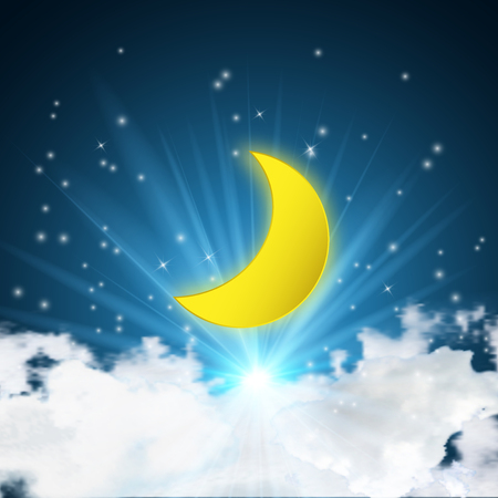 Big half moon with clouds and stars in the dark night. vector illustration.