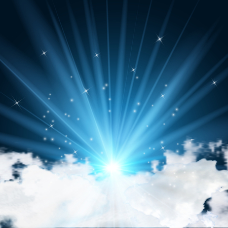 Beautiful of lights, clouds and stars in the dark night. vector illustration.