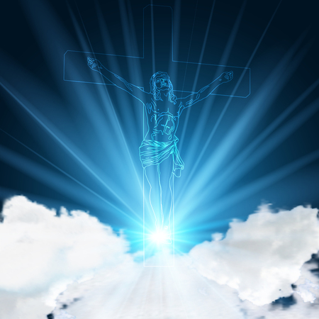 Glowing blue jesus pinned to a crucifix on light blue sky and clouds as Christianity Church background concept, vector illustration