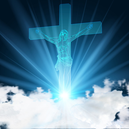 Glowing blue jesus pinned to crucifix on light blue sky and clouds as Christianity Church background concept, vector illustration