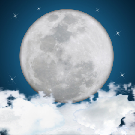 Detailed of Realistic full moon on clouds background. vector illustration.