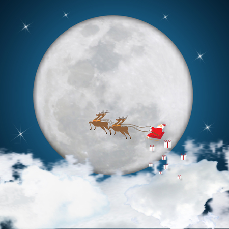 Merry Christmas and Happy New Year holiday. Santa Claus in sleigh with reindeer on full moon, stars and clouds in night as poster , greeting card and Cartoon style Concept. Vector illustration. Çizim