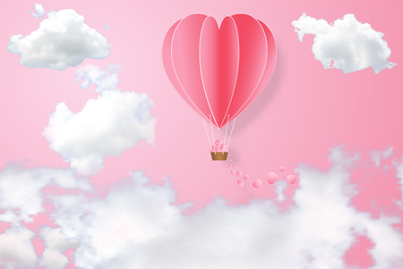 The hot air heart balloon on pink sky as love, happy valentines day, wedding and paper art concept. vector illustration.
