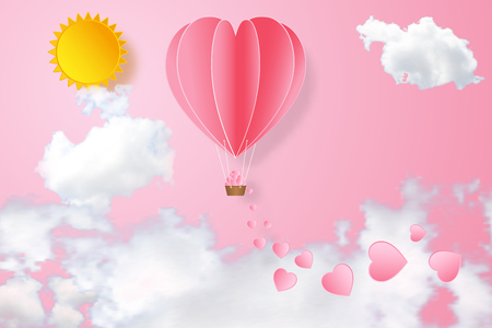 The hot air heart balloon on pink sky and sunny as love, happy valentine's day, wedding and paper art concept. vector illustration.