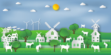 landscape of goat farm and relax in the morning city on summer, fresh air in the park as nature, living , paper art and craft style concept. vector illustration Çizim
