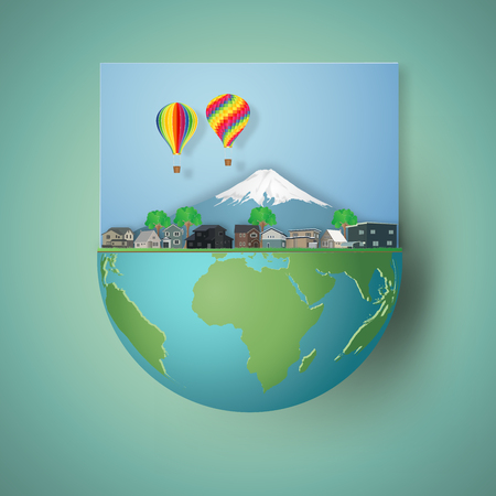 ouses, colorful hot airi balloons and mountain on hemisphere green world as business, nature, eco and love earth day concept. vector illustration of paper art and craft style. Illustration