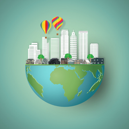 Modern buildings cityscape and houses with colorful balloons on hemisphere green world as business, nature, eco and love earth day concept. vector illustration of paper art and craft style.