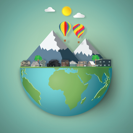 Casas, coloridos globos de aire caliente y montaña en el mundo verde del hemisferio como concepto de día de la tierra de negocios, naturaleza, eco y amor. ilustración vectorial de arte en papel y estilo artesanal.