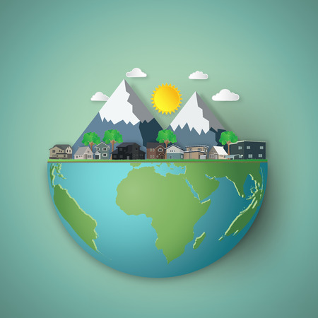 Modern houses and mountain on hemisphere green world as business, nature, eco and love earth day concept. vector illustration of paper art and craft style.